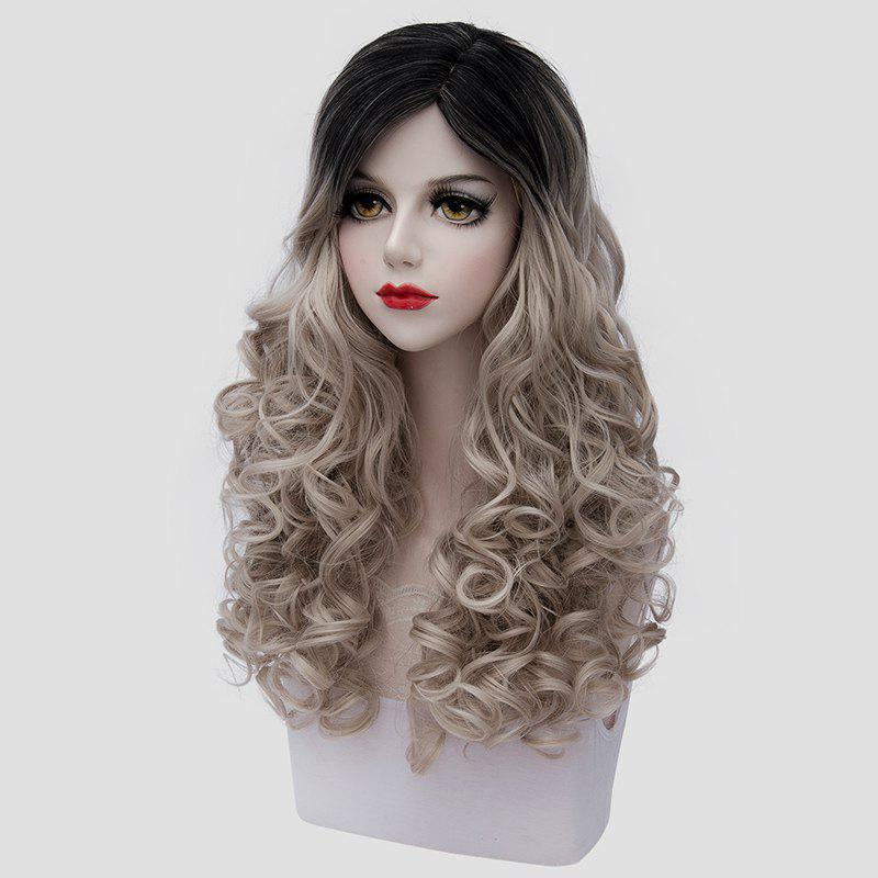Fluffy Curly Synthetic Elegant Black Flax Ombre Fashion Long Universal Cosplay Wig For Women - COLORMIX