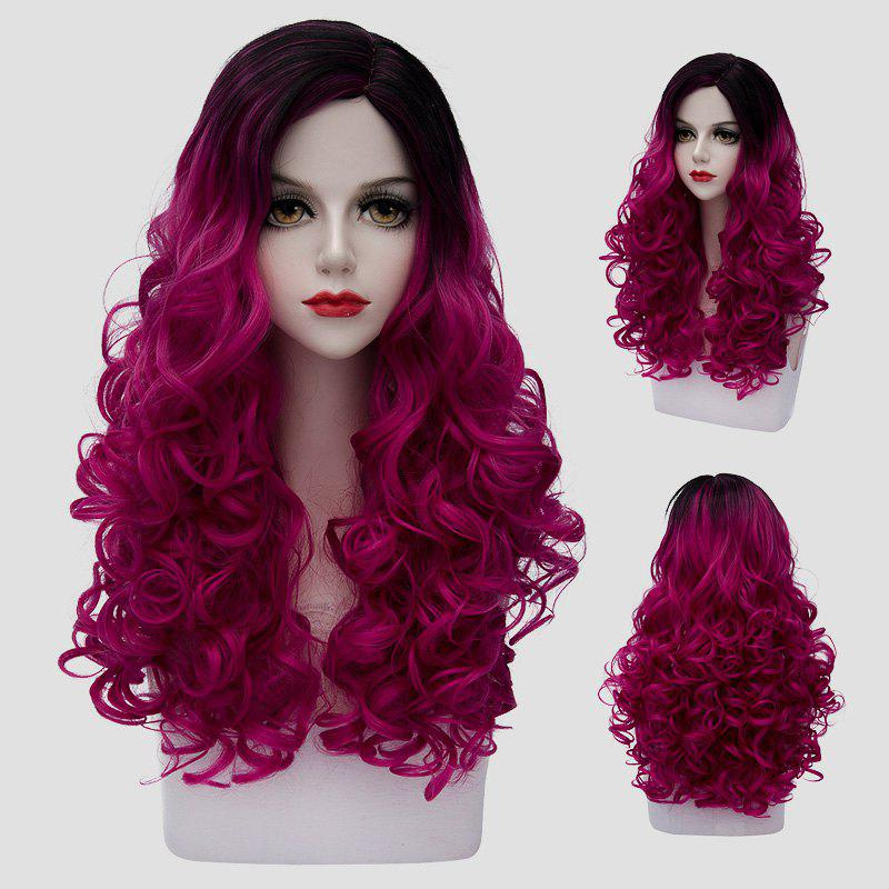 Shaggy Curly Synthetic Trendy Black Ombre Purple Attractive Long Women's Costume Play Wig - COLORMIX