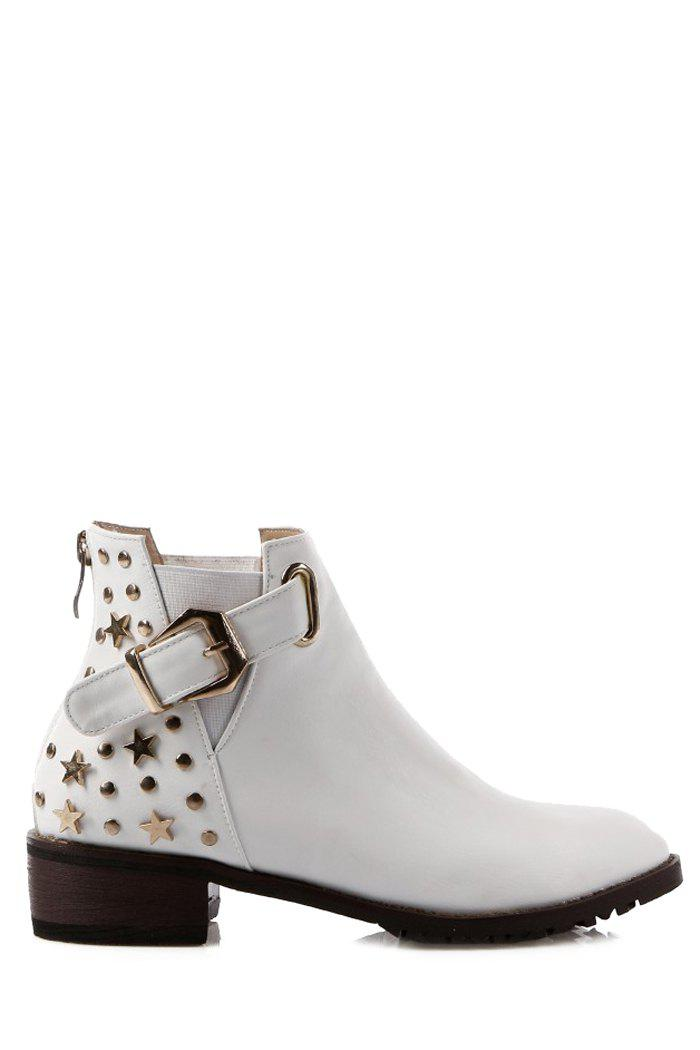 Trendy Metallic Buckle and Rivet Design Women's Short Boots - WHITE 38