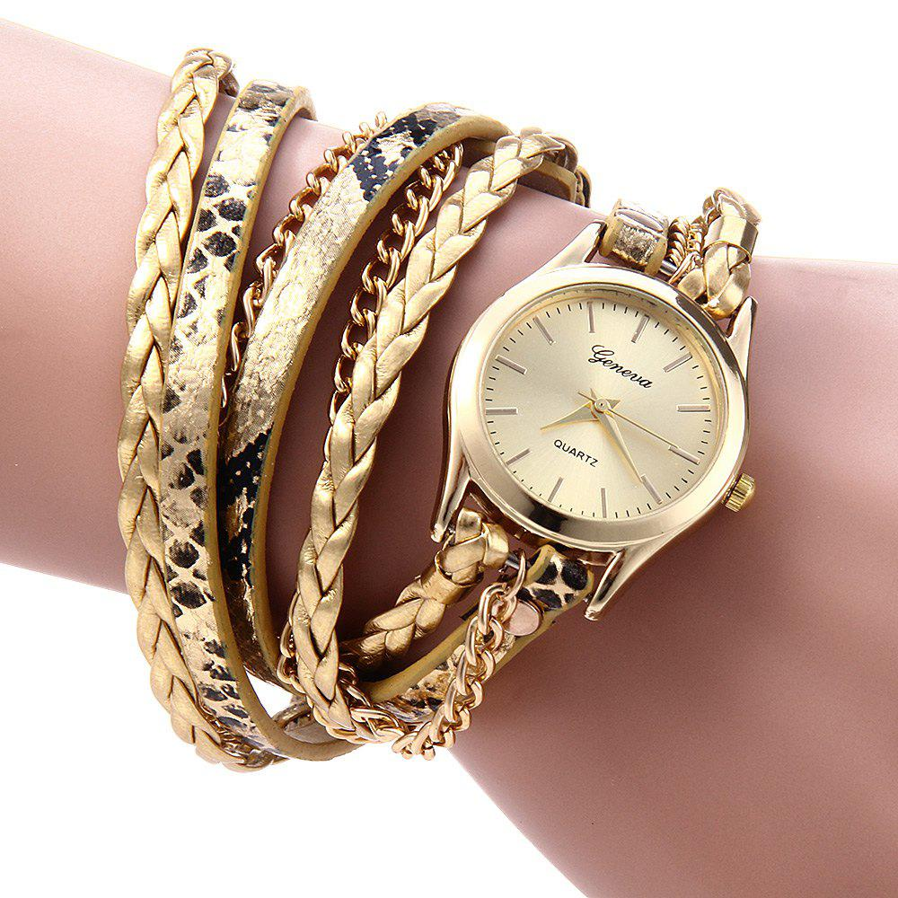 Women Woven Bracelet Quartz Watch Snake Texture Leather Chain - GOLDEN