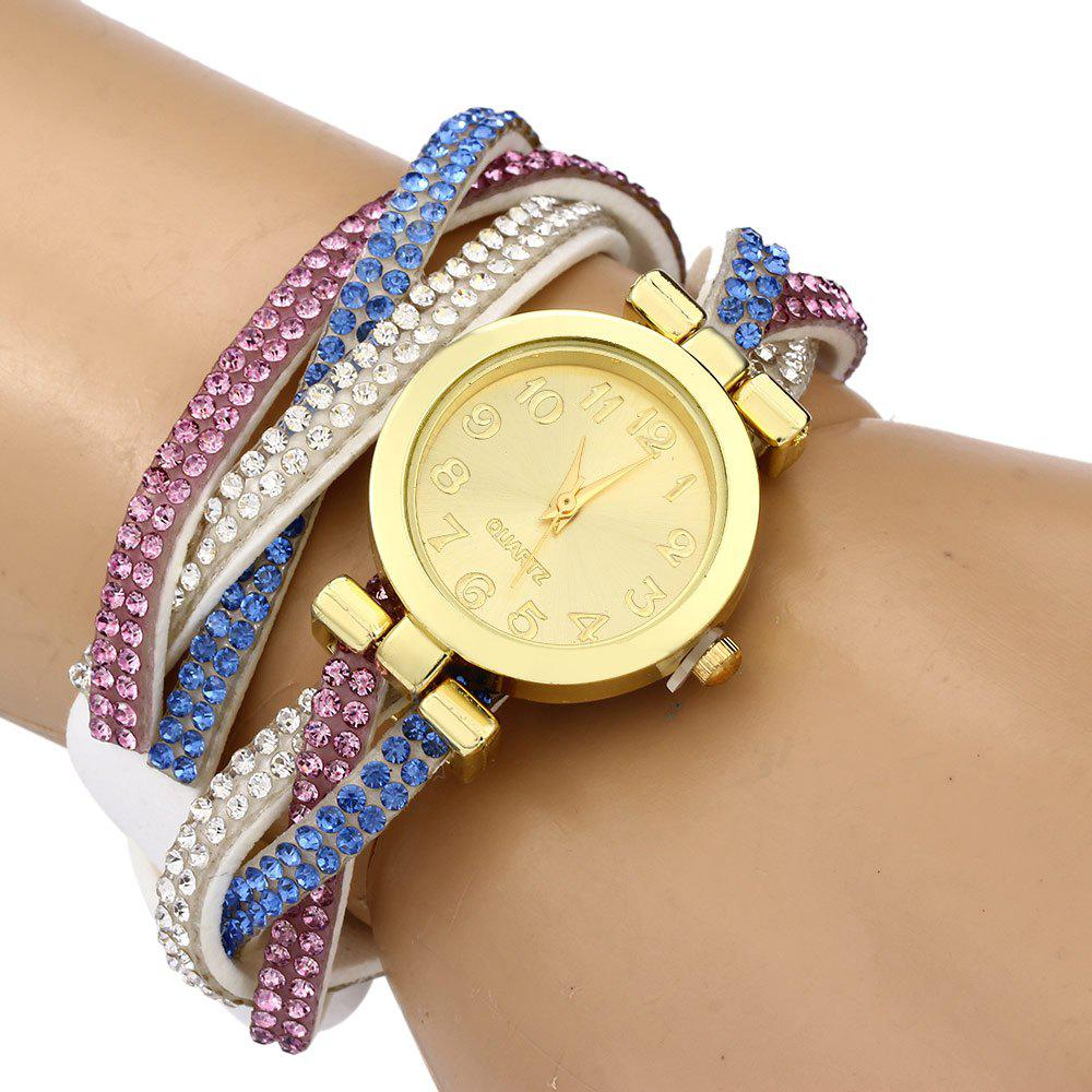 Women Bracelet Quartz Watch Rhinestone Twist Chain - WHITE