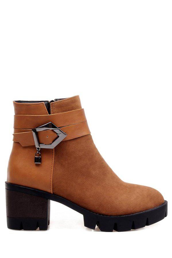 Fashionable Solid Color and Splicing Design Women's Short Boots - BROWN 39