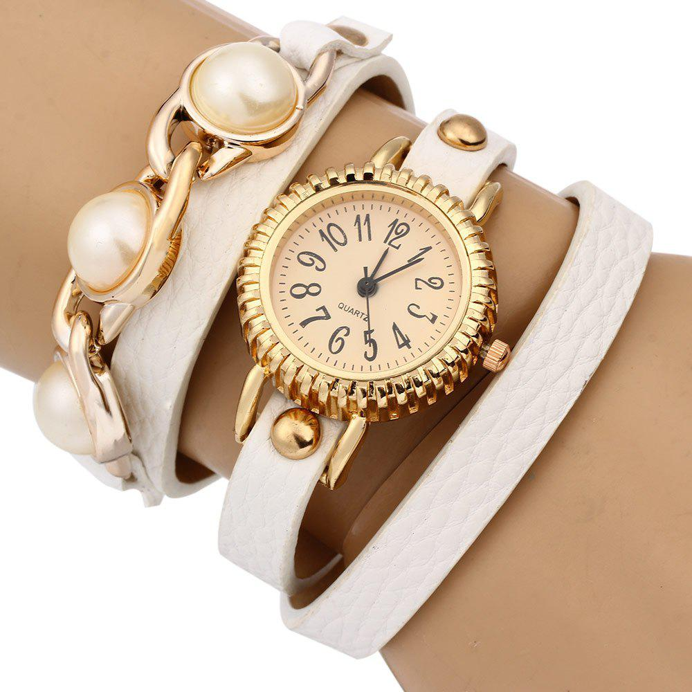 Women Bracelet Quartz Wrist Watch Pearl Leather Strap - WHITE