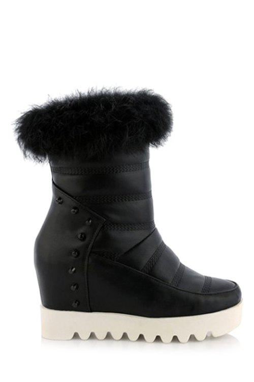 Stylish Stitching and Hidden Wedge Design Women's Short Boots