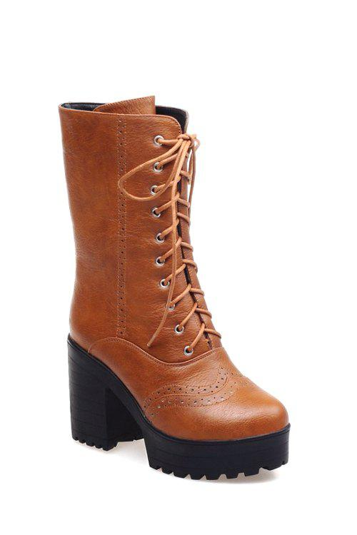 Vintage Engraving and Chunky Heel Design Women's Mid-Calf Boots - BROWN 40
