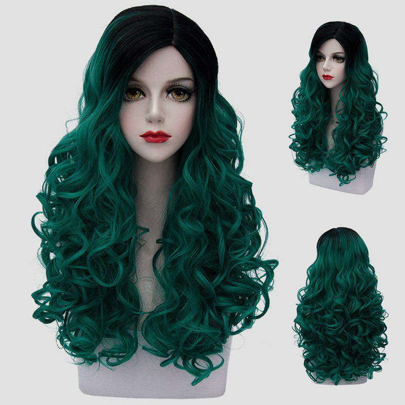 Stunning Black Ombre Green Trendy Long Synthetic Fluffy Curly Women's Cosplay Wig - BLACK/GREEN