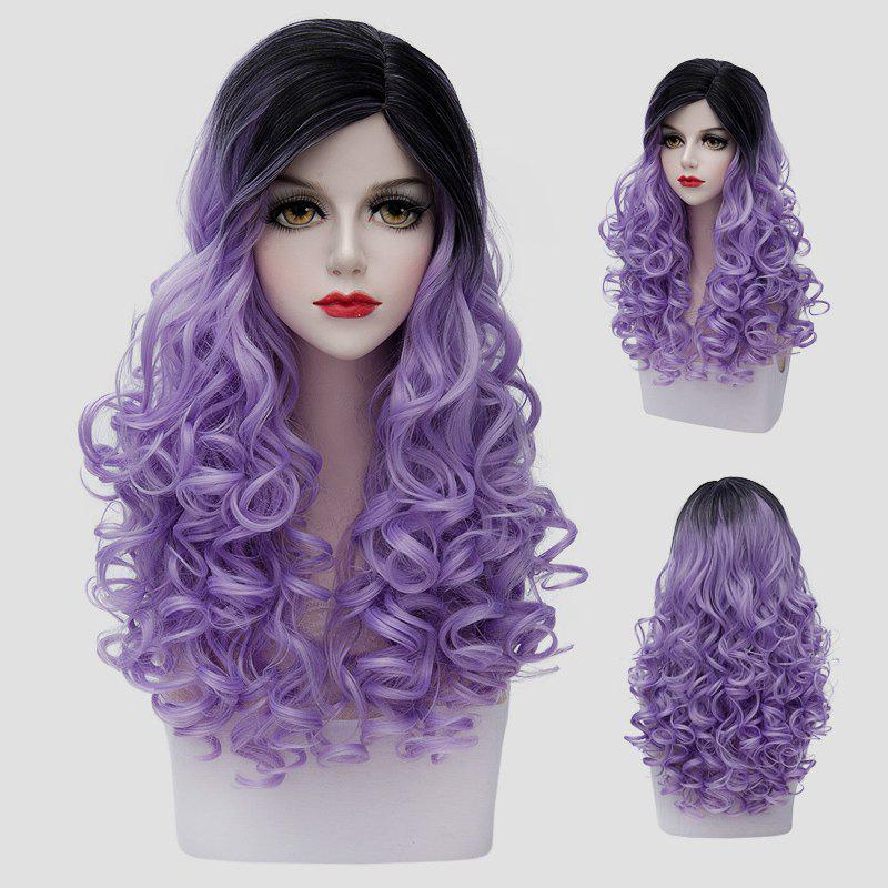 Vogue Long Gorgeous Black Gradient Light Purple Shaggy Curly Synthetic Cosplay Wig For Women - BLACK/PURPLE