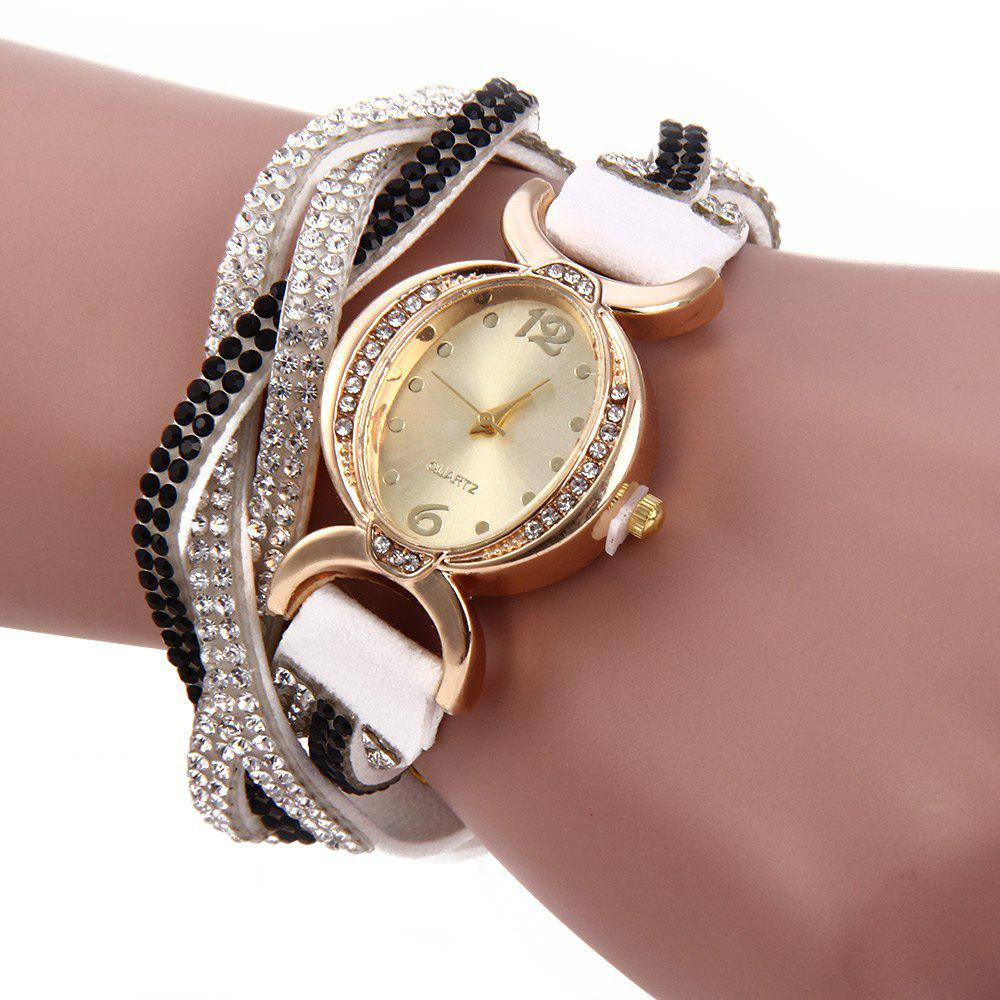 Women Bracelet Quartz Wrist Watch Rhinestone Chain - WHITE