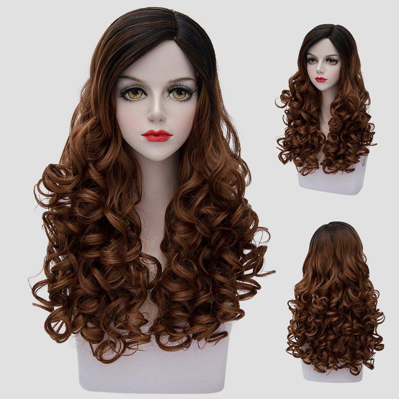 Stunning Black Ombre Brown Synthetic Vogue 60CM Long Curly Women's Cosplay Wig - BLACK/BROWN