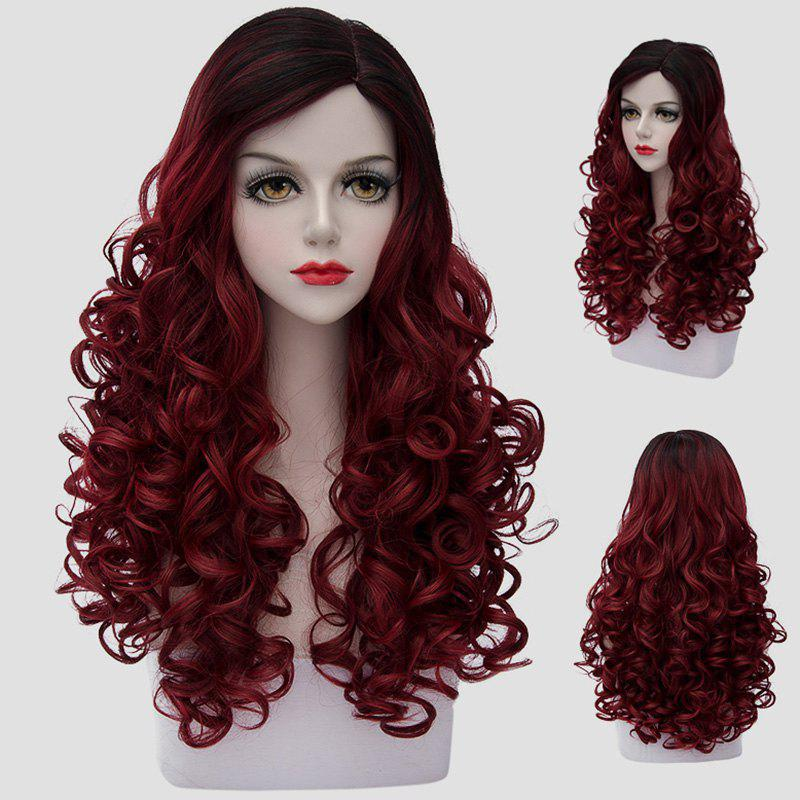 Fluffy Curly Nobby Black Ombre Dark Red Noble Long Synthetic Cosplay Wig For Women nobby black ombre wine red capless fluffy long wavy synthetic universal wig for women