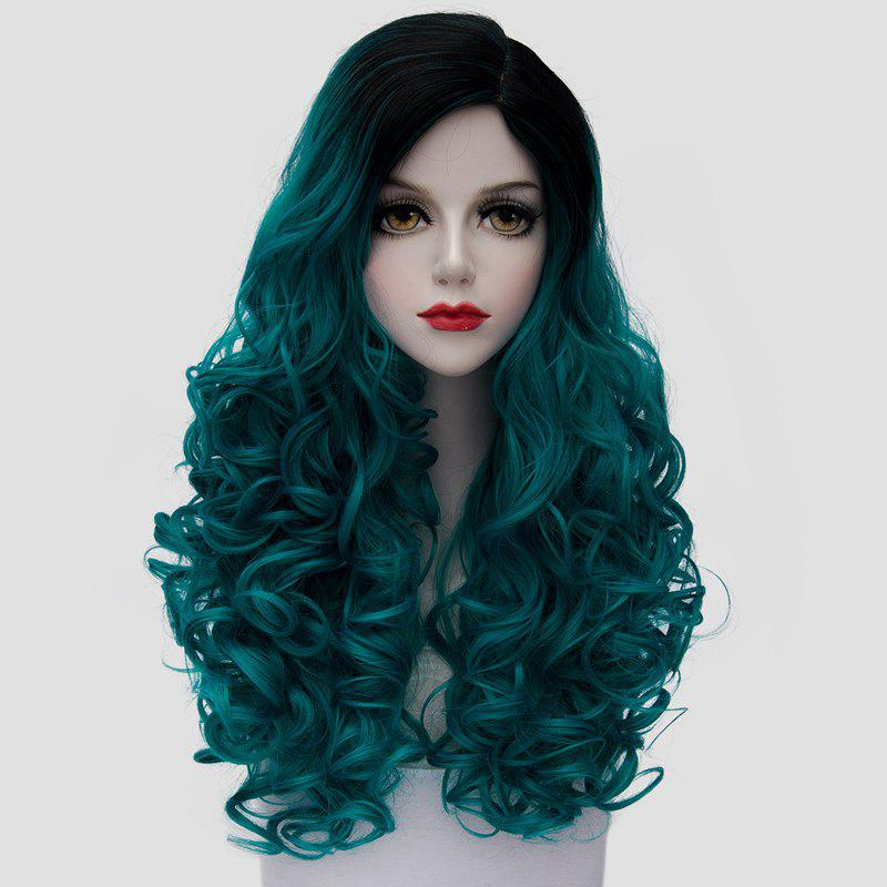 Trendy 60CM Long Fashion Black Turquoise Ombre Synthetic Fluffy Curly Cosplay Wig For Women