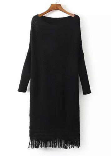 Chic Fringed Scoop Neck Long Sleeve Sweater Dress For Women - BLACK ONE SIZE(FIT SIZE XS TO M)
