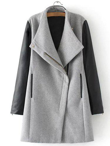 Brief PU Leather Spliced Turn-Down Collar Long Sleeve Coat For Women - GRAY L