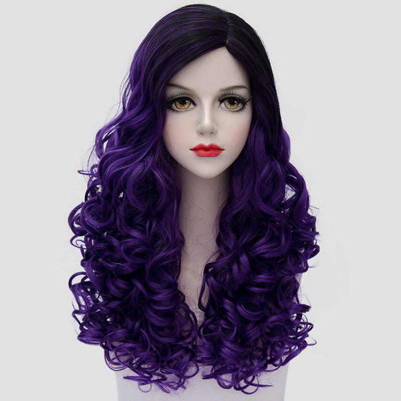 Gorgeous Black Purple Ombre Fashion Long Curly Universal Women's Costume Play Wig - BLACK/PURPLE