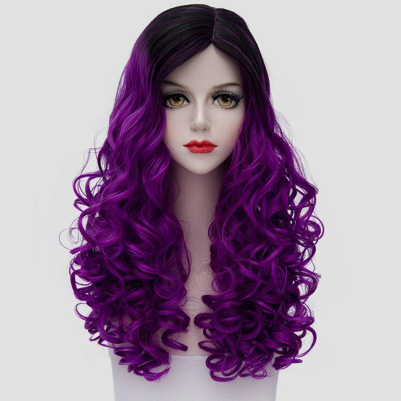 Fluffy Curly Stunning Long Synthetic Vogue Black Purple Ombre Women's Cosplay Wig - BLACK/PURPLE