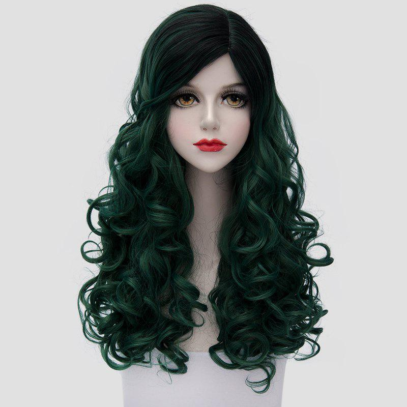 Nobby Long Trendy Black Ombre Blackish Green Synthetic Shaggy Curly Women's Cosplay Wig - COLORMIX