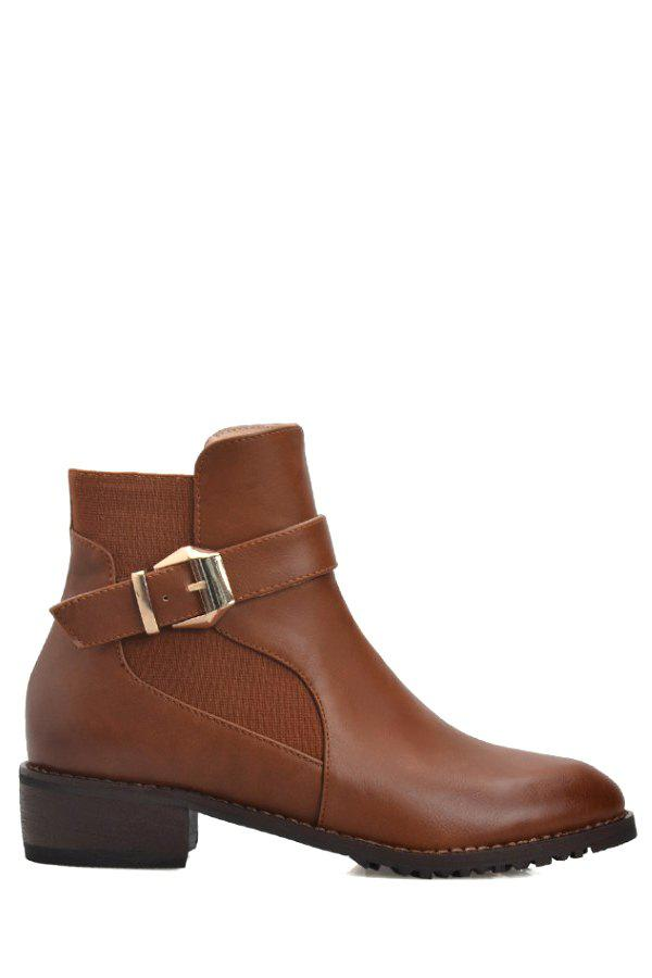 Stylish Buckle Strap and Solid Color Design Women's Short Boots - BROWN 34
