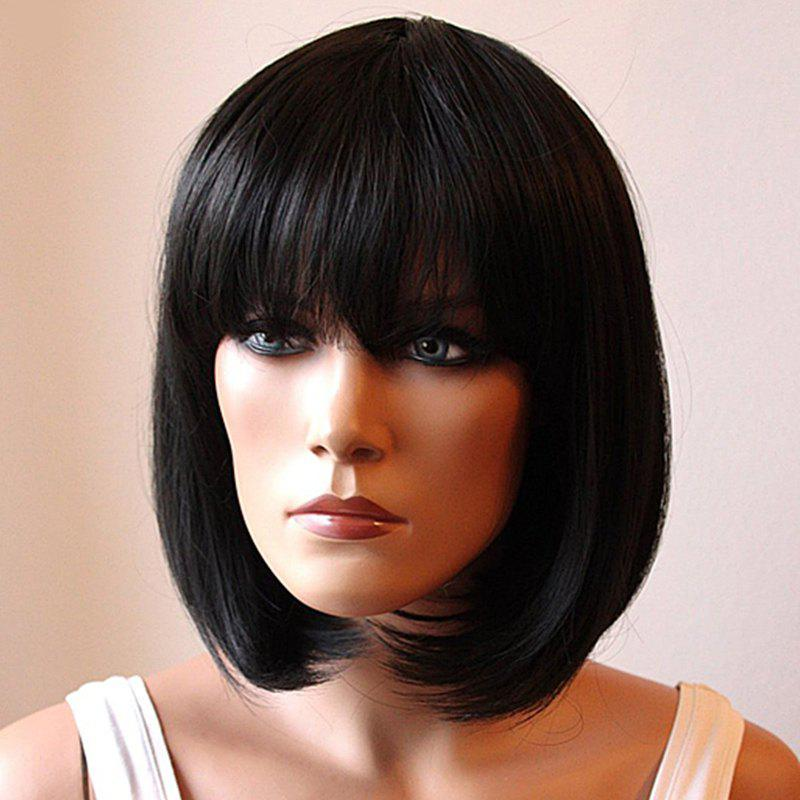 Fashion Medium Synthetic Assorted Color Bob Style Straight Full Bang Cosplay Wig For Women - BLACK