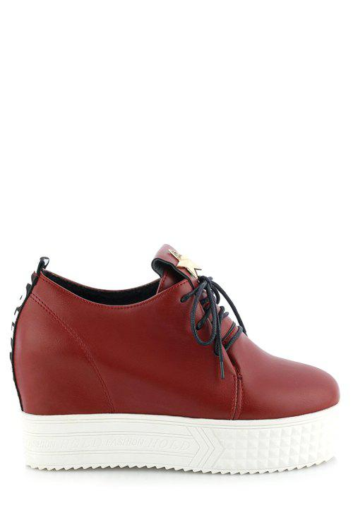 Trendy Star and Lace-Up Design Women's Platform Shoes - RED 43