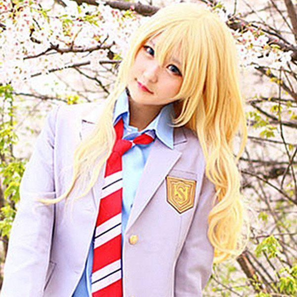 Vogue Side Bang Charming Gloden Long Fluffy Wavy Synthetic Miyazono Kaori Cosplay Wig - GOLDEN