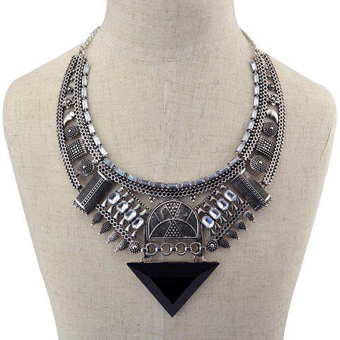 Vintage Alloy Faux Crystal Hollow Out Triangle Necklace For Women