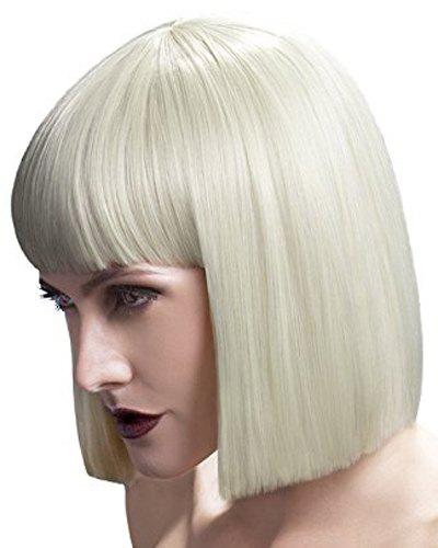 Bob Style Synthetic Full Bang Assorted Color Elegant Short Silky Straight Cosplay Wig For Women - OFF WHITE