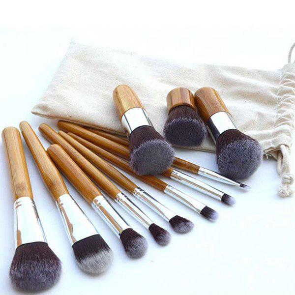 Professional 11 Pcs Nylon Makeup Brushes Set with Gunny Bag - YELLOW
