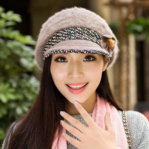 Chic Faux Fur and Flower Embellished Mixed Color Newsboy Hat For Women - KHAKI
