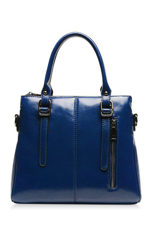 Trendy Buckle Straps and Stitching Design Women's Tote Bag - BLUE