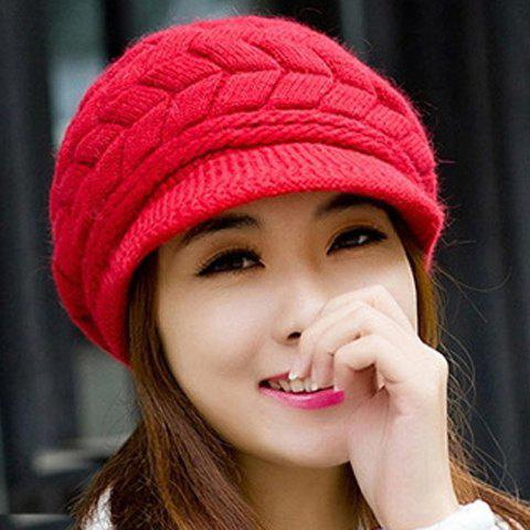 Chic Knitted Hemp Flower Solid Color Newsboy Cap For Women - RED