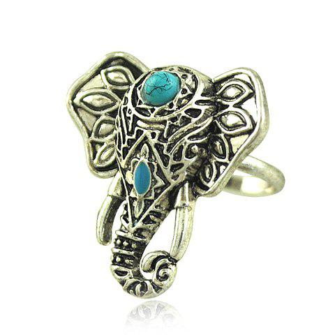 Faux Turquoise Elephant Shape Ring - SILVER GRAY ONE-SIZE