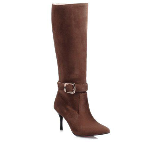 Simple Pin Buckle and Suede Design Women's Mid-Calf Boots - BROWN 34