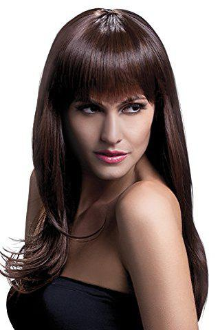 70CM Long Layered Fluffy Natural Wavy Trendy Full Bang Synthetic Women's Cosplay Wig - DEEP BROWN