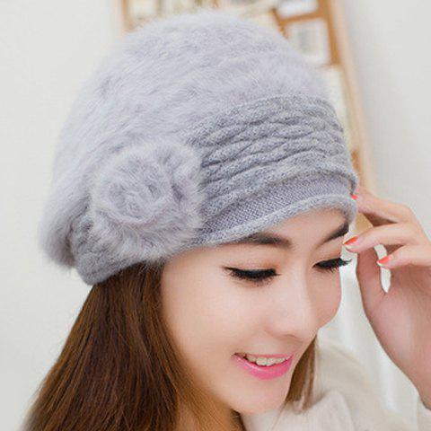 Chic Solid Color Small Pompon Embellished Beret For Women - GRAY