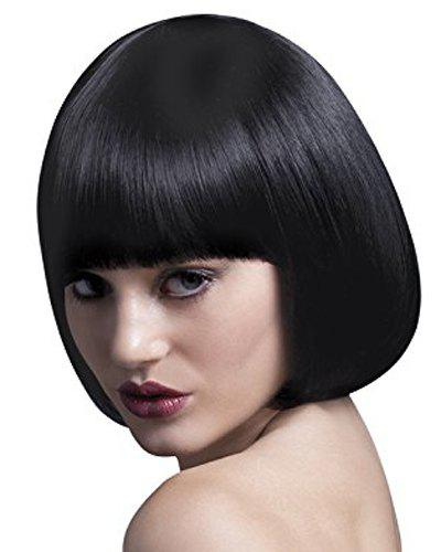 Bob Style Sweet Short Synthetic Straight Assorted Color Full Bang Women's Cosplay Wig - JET BLACK
