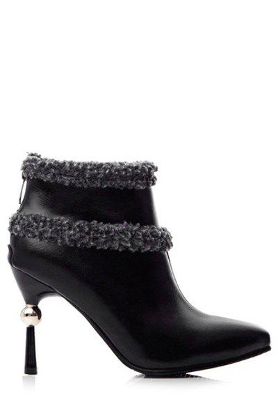 Stylish Strange Heel and Pointed Toe Design Women's Short Boots - BLACK 38