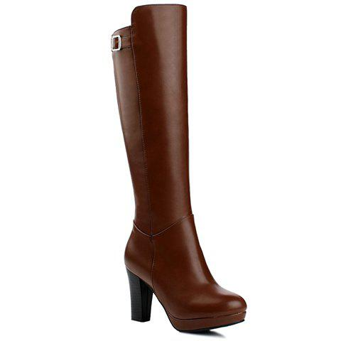 Fashion PU Leather and Cone Heel Design Mid-Calf Boots For Women - BROWN 35