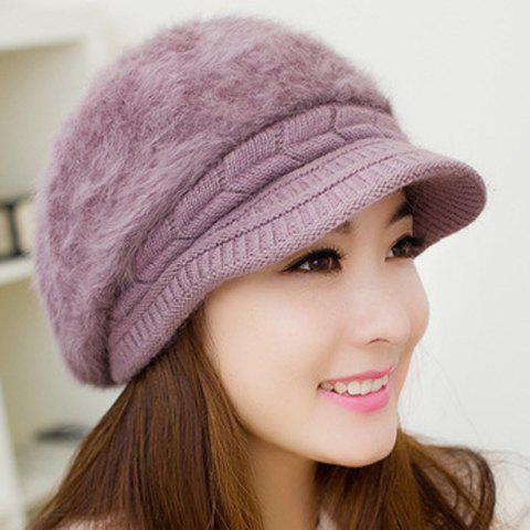Chic Knitted Hemp Flower and Faux Rabbit Hair Design Newsboy Cap For Women - LIGHT PURPLE