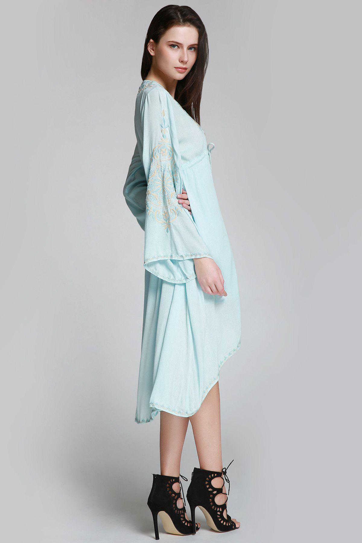 Flare Sleeve Shapeless Embroidered Dress - LIGHT BLUE M