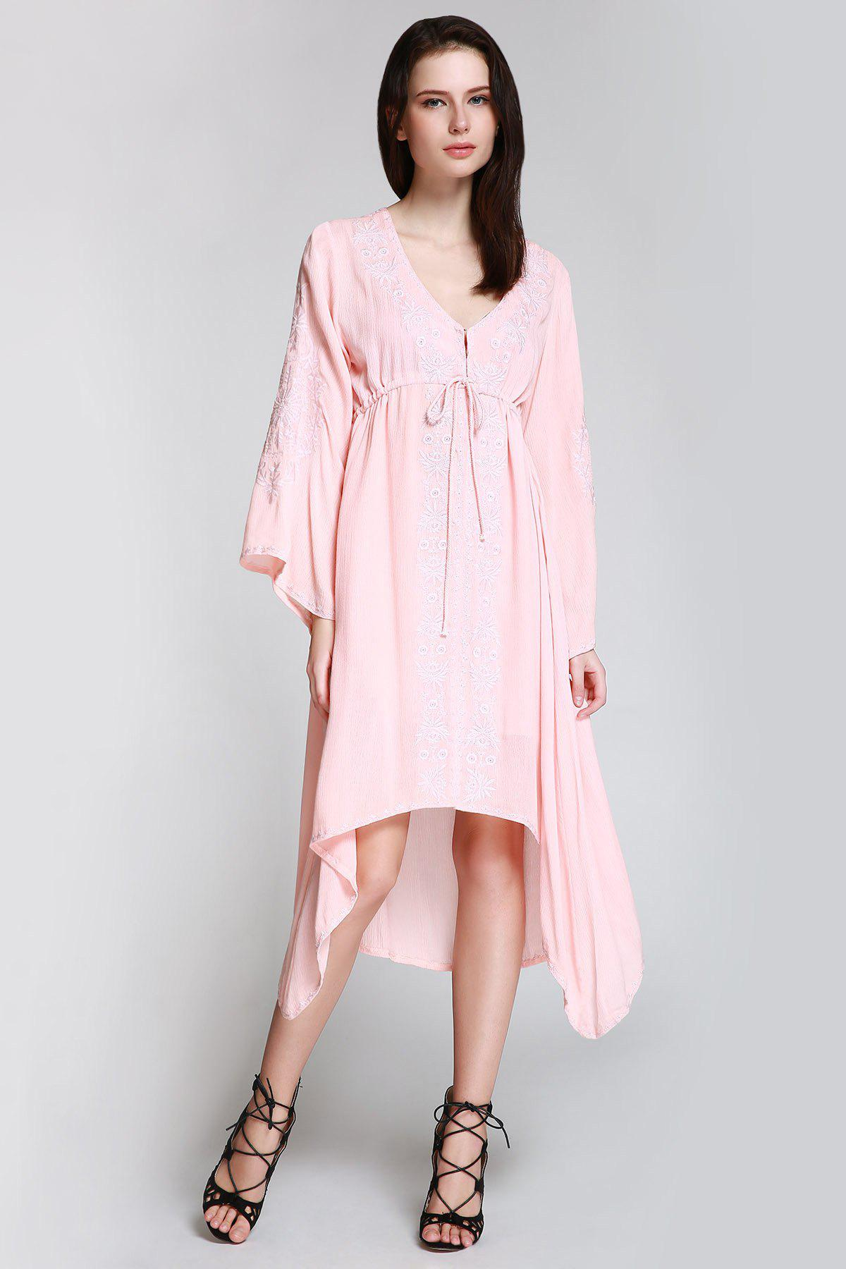 Flare Sleeve Shapeless Embroidered Dress - SHALLOW PINK L