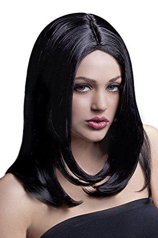 Fluffy Straight Tail Adduction Elegant Medium Synthetic Stylish Middle Part Women's Cosplay Wig - JET BLACK