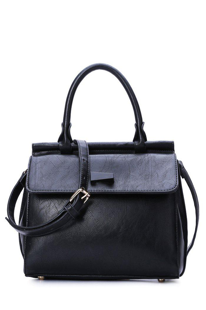 Concise Black and PU Leather Design Women's Tote Bag - BLACK