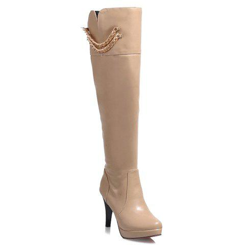 Stylish Stiletto Heel and Chains Design Knee-High Boots For Women - APRICOT 34