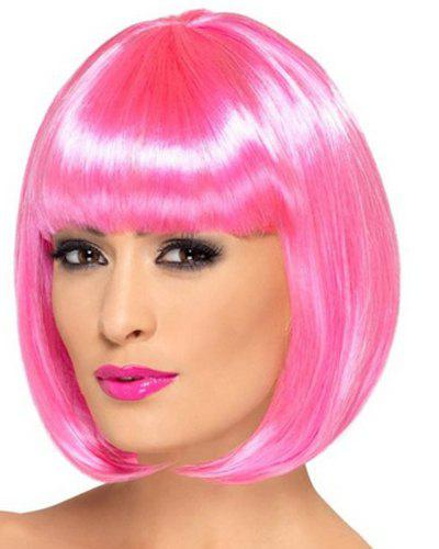 Fashion Straight Assorted Color Bob Style Short Synthetic Universal Cosplay Wig For Women - PINK