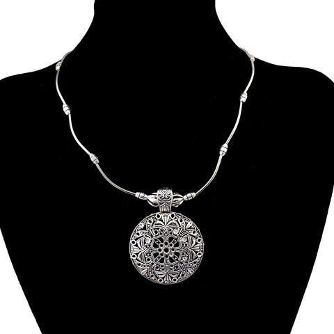 Filigree Floral Round Pendant Necklace - SILVER GRAY