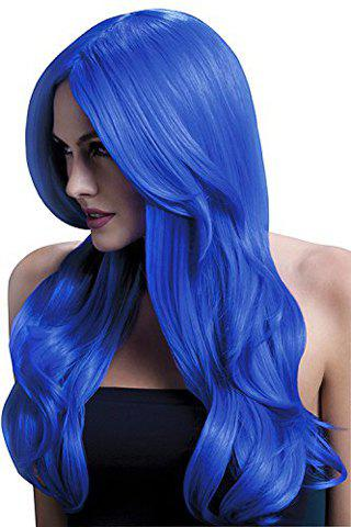 Assorted Color Stylish 60CM Long Layered Synthetic Fluffy Wavy Middle Part Women's Cosplay Wig - BLUE