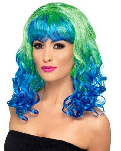 Fluffy Wavy Full Bang Stunning Green Ombre Blue Synthetic Fashion Long Cosplay Wig For Women