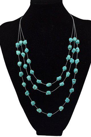 Charming Multilayered Faux Turquoise Sweater Chain For Women - GREEN