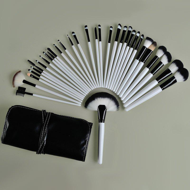 Professional 32 Pcs Nylon Makeup Brushes Set with Leather Brush Bag - WHITE