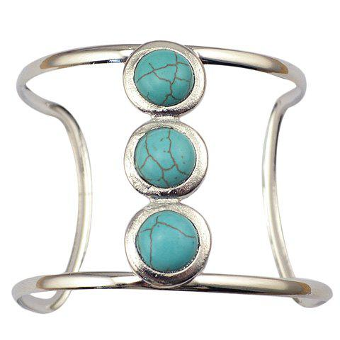 Graceful Faux Turquoise Round Hollow Out Cuff Bracelet For Women